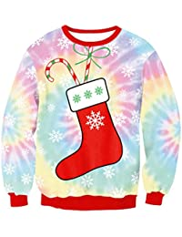 Zhuhaitf クリスマスのファッション レディース Novelty 3D Print Pullover All Over Stocking Long Sleeve Ugly Christmas Sweater Womens...