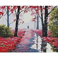 大人のための数字による秋の風景画子供初心者初心者学生Diy油絵ギフトキットキャンバスアートホームデコレーション40X50Cmブラシ付き額入り