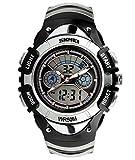 SKMEI 腕時計 キッズ アナデジ表示 日付曜日表示 LED クロノグラフ 防水 スポーツウォッチ シルバー