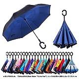 CarBoys 逆転傘 逆さ傘 逆折り式傘 自立傘 長傘 手離れC型手元 耐風傘 撥水加工 晴雨兼用 ビジネス用 車用 UVカット遮光遮熱 傘ケース付き(チベットの青)