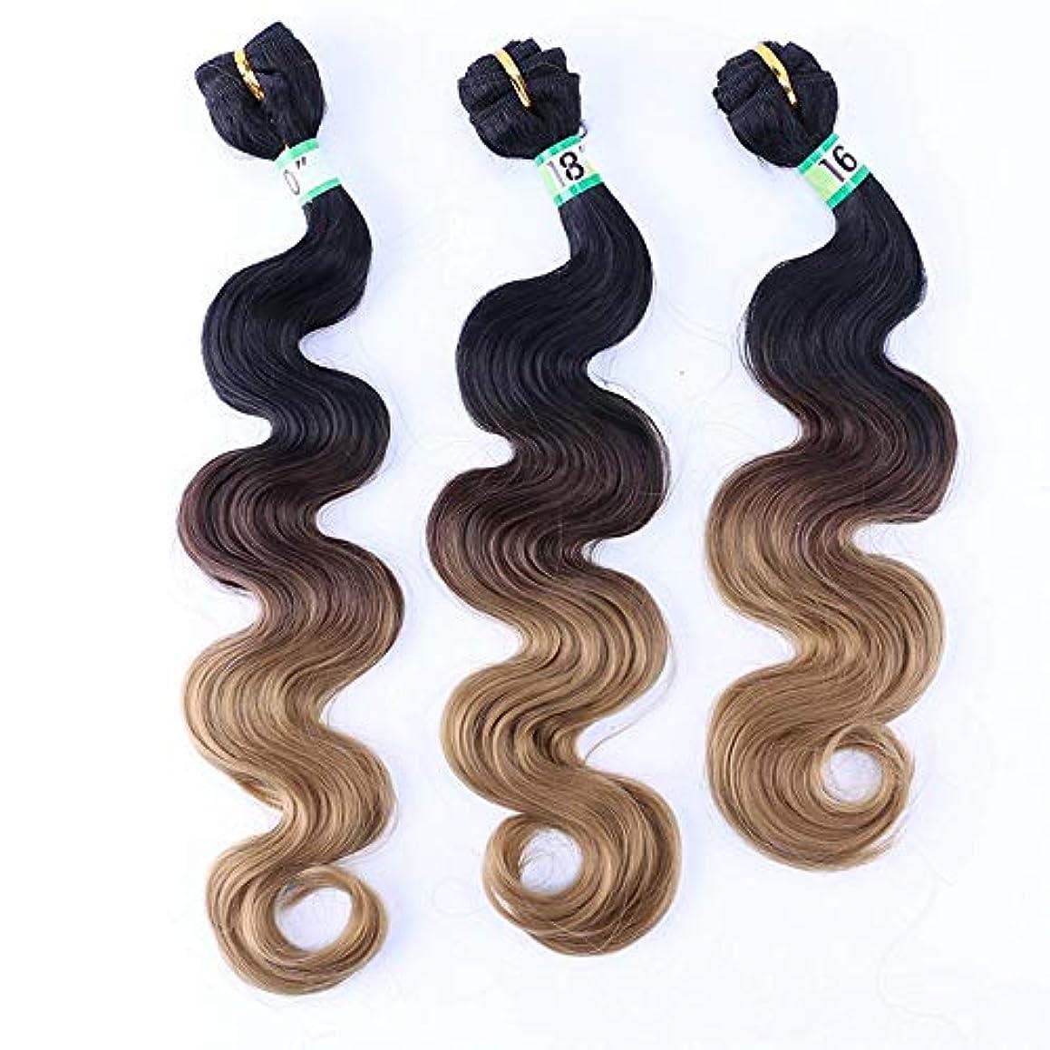 委託アナウンサーズボンHOHYLLYA 女性の巻き毛の実体波3バンドル - T1 / 427茶色の人工毛横糸ヘアエクステンション女性の合成かつらレースかつらロールプレイングかつら (色 : ブラウン, サイズ : 20