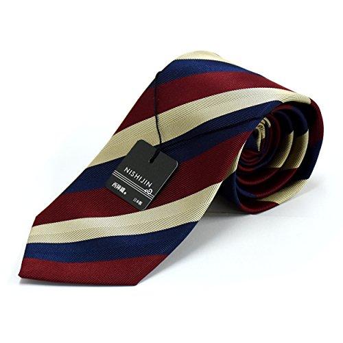 (ピエールタラモン) Pierre Talamon 日本製 西陣織 メンズ ビジネス ジャガード織 シルク 100% ネクタイ 8cm ストライプ 柄 タイプB