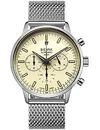 BIENNA 腕時計 メンズ パイロットウォッチ CHRONOMETERシリーズ 特別記念モデル クロノグラフ 多針アナログ クオーツムーブメント ステンレスバンド 日付付き 5気圧防水 スタンダード スイス製 ビジネス用 おしゃれ