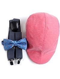 レッド&ブルーMartiniパターンサスペンダー、蝶ネクタイ&アイビー帽子メンズセット