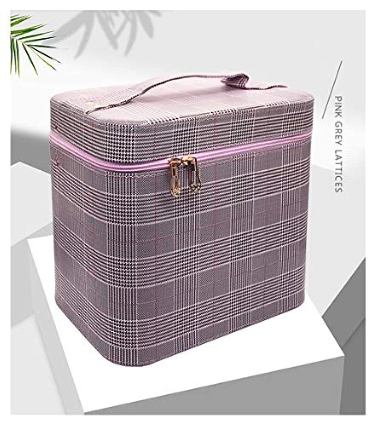 外向きスリチンモイ征服SZTulip コスメボックス メイクボックス 大容量メイクケース 化粧品収納ケース 小物入れ 鏡付き 化粧箱 (グレー+パープルチェック)