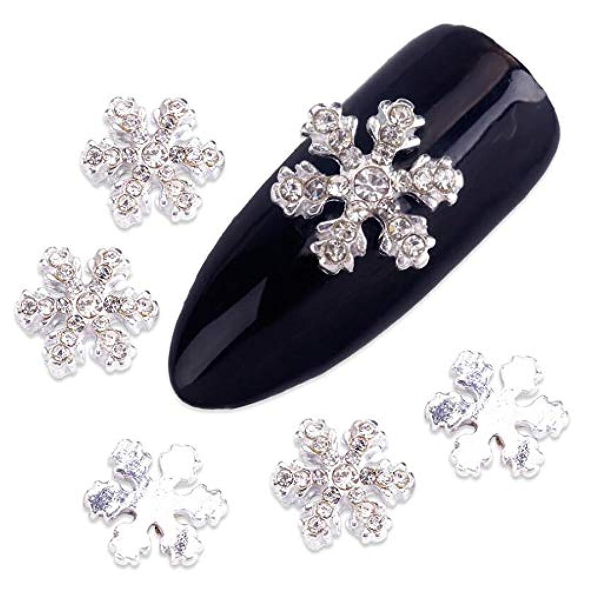 咽頭振り子王室釘のために10個入り/ロット3Dクリスマスネイルアートの装飾銀合金スノーフレークデザインの装飾のクリスタルラインストーン