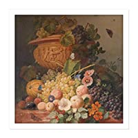 Eelkema Still Life With Flowers And Fruit Painting Square Wooden Framed Wall Art Print Picture 16X16 Inch まだ生活フラワーズフルーツペインティング木材壁画像