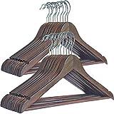 DUOFIRE 木製ハンガー 衣類ハンガー 洋服ハンガー 肩部分に凹み付き スーツ・シャツ・コート用 おしゃれ 高級感 シックな艶消しの茶褐色 20本組セット