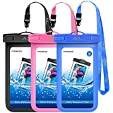 Universal Waterproof Phone Case, [3 Pack] Moko Waterproof Phone Pouch Dry Bag with Neck Strap for iPhone X/8 Plus/8, Samsung Galaxy S9 Plus/S9, BLU, Moto & More