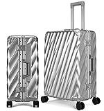 Osonm スーツケースキャリーケースキャリーオンスーツケース預金スーツケースTSA普遍的な車のインパクト静かなキャスター6017をロック(S、シルバーグレー) S シルバーグレー