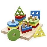 Rolimate木製ベビーシェイプ&色彩認識カラフルな幾何学会スタック&ソートパズル玩具 (A)