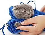 RmRim 猫用みのむし袋 シャンプー 爪切り 耳掃除 落ち着くネット (青)
