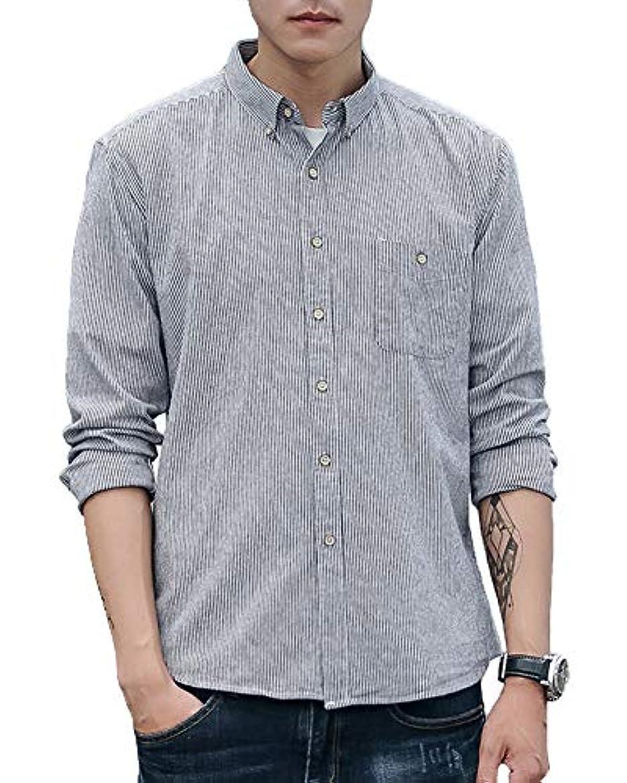 半径歯痛生き返らせるYookie yシャツ メンズ ワイシャツ 長袖 シャツ オックスフォード ボタンアップ ストライプ 高品質 綿100% 春 秋 トップス C1523