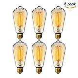 エジソン電球60W KINGSO 6個入 E26 110V ST64-19アンカー レトロガラスライト ホーム照明装飾用器具
