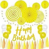 Aplanet 贅沢な誕生日 飾り付け 装飾 35点セット 特大 ペーパーファン ペーパーポンポン ハニカムボール ガーランド バースデー デコレーション セット イエロー