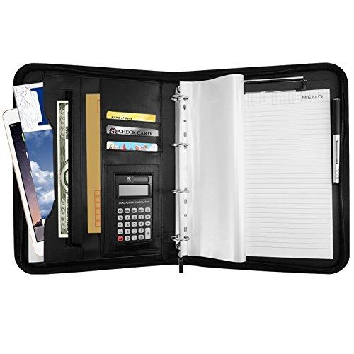 Aoonux A4 バインダー 多機能フォルダー クリップボード a4 ノートカバー 12桁電卓付き ビジネスオフィス用品 ビジネスバッグ 高級PUレザー かばん ブリーフケース 名刺入れ ペンホルダー プレゼント (ブラック)
