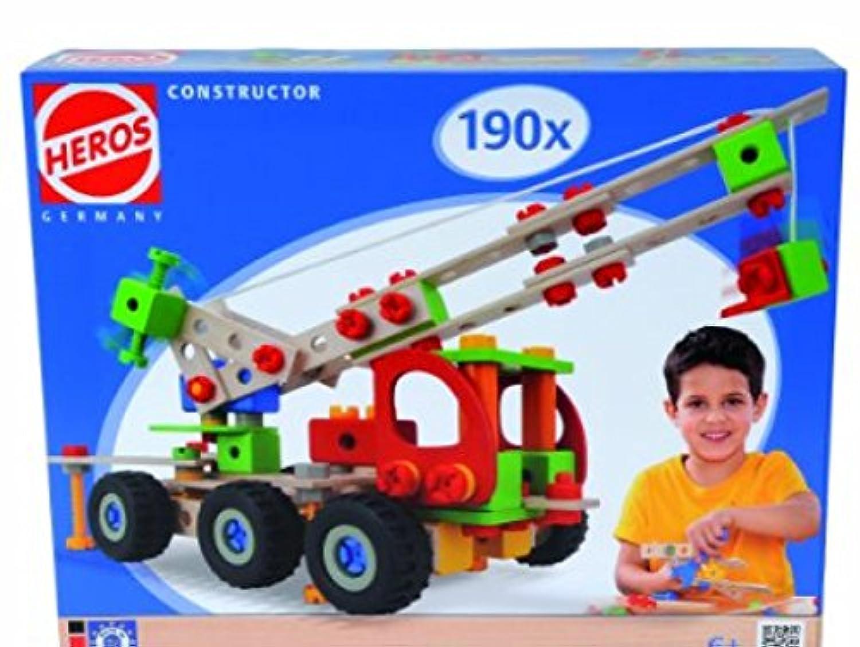 HEROS 100039039 - Constructor Kranwagen, 190-teilig - Holz-Konstruktionsset - 7 verschiedene Modelvarianten baubar - Made in Germany [並行輸入品]