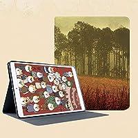 印刷者iPad Mini ケース クリア iPad Mini2 ケース レザー PU iPad Mini3 ケース 軽量 スタンド機能 傷つけ防止 オートスリープ ハード二つ折 朝秋の収穫シーズンの風景で耕作地の霧の森