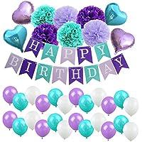 HooMall 誕生日 飾り付け 装飾 飾り付けセット 超豪華 記念日 風船 バースデー セット ブルー系 デコレーション ペーパーフラワー 男の子 女の子