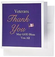 777images DesignsグラフィックデザインPatriotic–Thank You Veterans、神様が祝福をすべて。テキストアートwith USA Flag赤で、ホワイト、ブルー。–グリーティングカード Set of 6 Greeting Cards