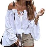 女性の長いベルスリーブ弾性巾着ストラップレスショルダートップス (XL, ホワイト)