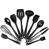Keepjoy キッチンツール シリコン製 耐熱 調理ツール キッチン クッキング用品 10点セット (ブラック(10セット))