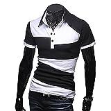 【 スマイズ スマイル 】 Smaids×Smile メンズ ポロシャツ 半袖 スリム ゴルフ ウェア バイカラー (ブラック L)