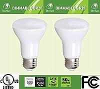 br20r20LED電球、bioluz LED調光機能付きbr207W ( 50ワット相当)インドア/アウトドア投光照明LED電球Mediumベース( e26) UL Listed 2 Pack BR20-3K500E-2