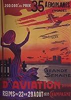Grande Semaine D 'aviation de laフランスシャンパン190935AEROPLANES ENGAGESヴィンテージポスターキャンバスREPRO