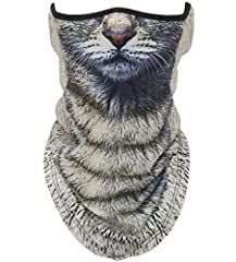動物柄 ハーフマスク フェイスマスク 3D プリント アニマル マスク 速乾 フェイスカバー ネックガード Animal Face Mask/サバゲー・自転車・バイク・アウトドア・コスプレ (猫)