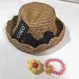 COKO4色 超可愛い麦わら帽子 リボン飾り女の子用 日よけ/日除け/紫外線対策 UVカット 柔らかく折り畳めます (ブラウン&ブラックリボン)