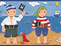 "Pirates Parrot Fortune Sailboatsキッズ壁紙ボーダーの寝室、プレイルーム、バスルーム、ロール15' x 9"""