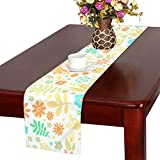 LKCDNG テーブルランナー 黄色 和風の花 クロス 食卓カバー 麻綿製 欧米 おしゃれ 16 Inch X 72 Inch (40cm X 182cm) キッチン ダイニング ホーム デコレーション モダン リビング 洗える