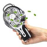 充電式 扇風機 NEWSTYLE USB扇風機 サーキュレーター 20ML 加湿 噴霧 3つ段階風量調節可能 2種モード加湿 4枚羽根 スイッチ付き USBファン LEDライト付き ミニ扇風機 (ブラック)