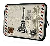 ノートPC Mac タブレット iPad 防水 インナー ケース スリーブ フランス エッフェル塔 柄 バッグ (13inch(32.5cm×24.5cm×2cm))