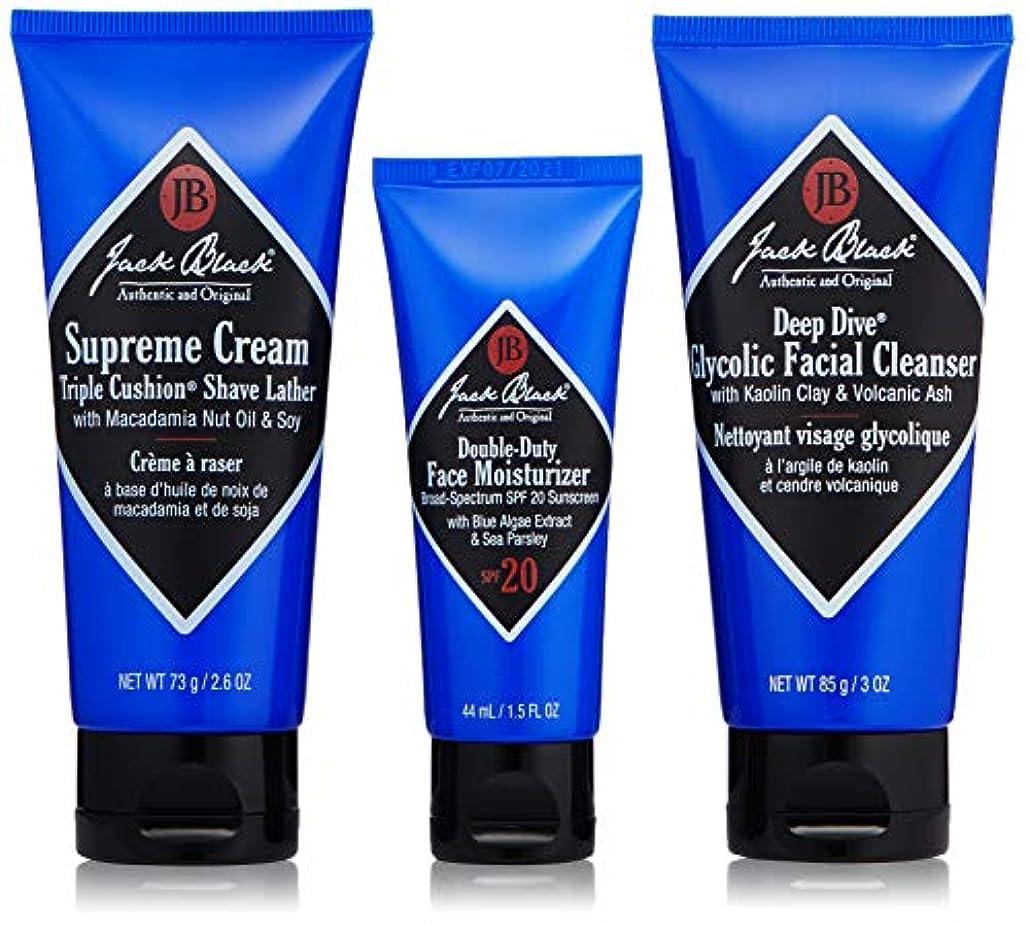 雨の彼らのものうれしいジャックブラック Shave Essentials Kit: Deep Dive Glycolic Facial Cleanser + Supreme Cream Triple Cushion Shave Lather...