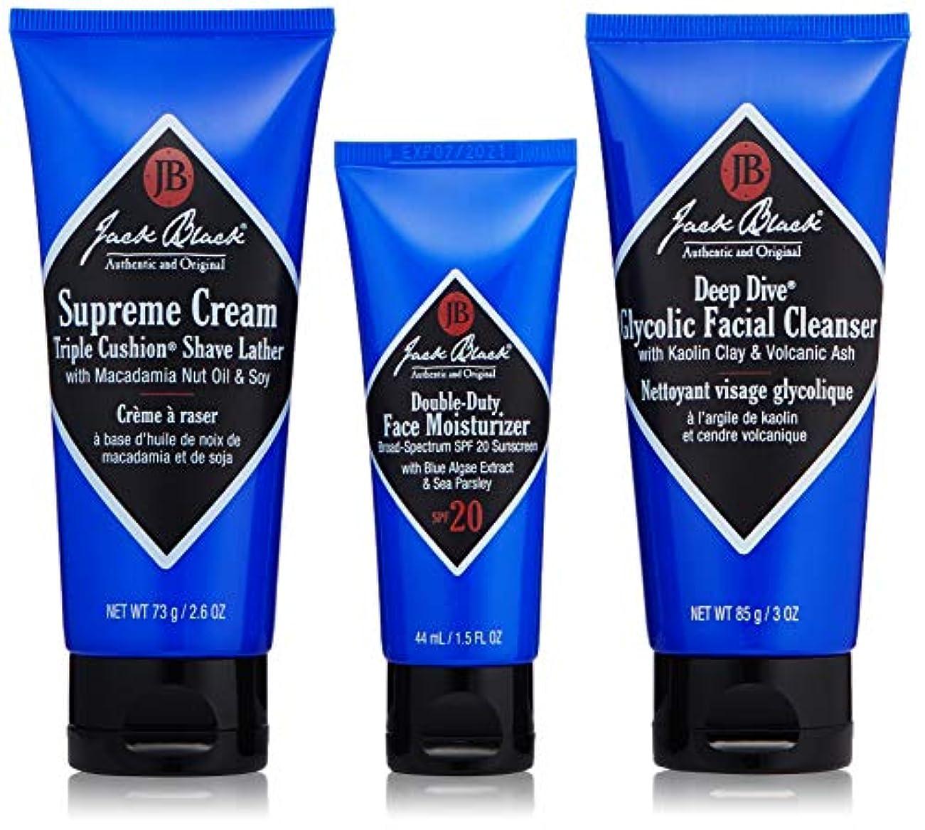 直面する配管工推進力ジャックブラック Shave Essentials Kit: Deep Dive Glycolic Facial Cleanser + Supreme Cream Triple Cushion Shave Lather...