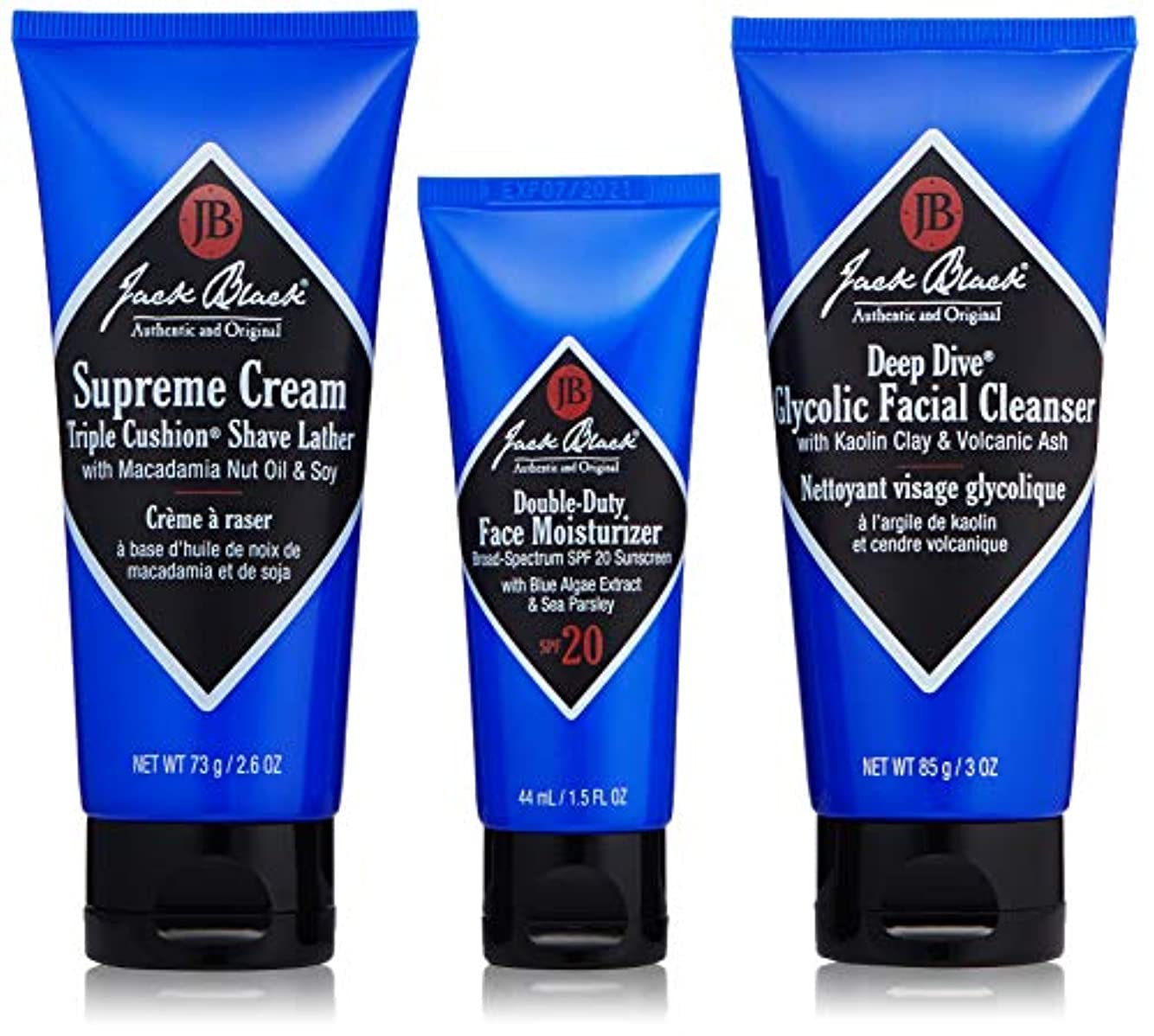 野菜スパン底ジャックブラック Shave Essentials Kit: Deep Dive Glycolic Facial Cleanser + Supreme Cream Triple Cushion Shave Lather...