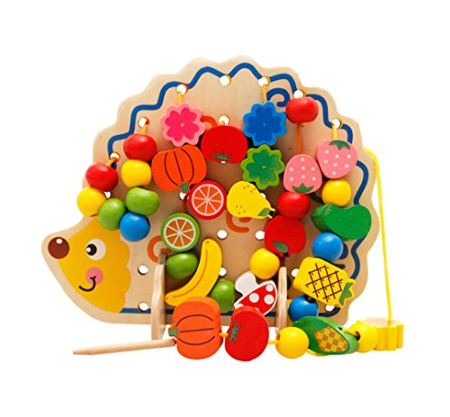 Biowow Fruit & Vegetable Lacing Wooden Beads with Hedgehog Board Threading Beads Wooden Block Early Education Learning Toys