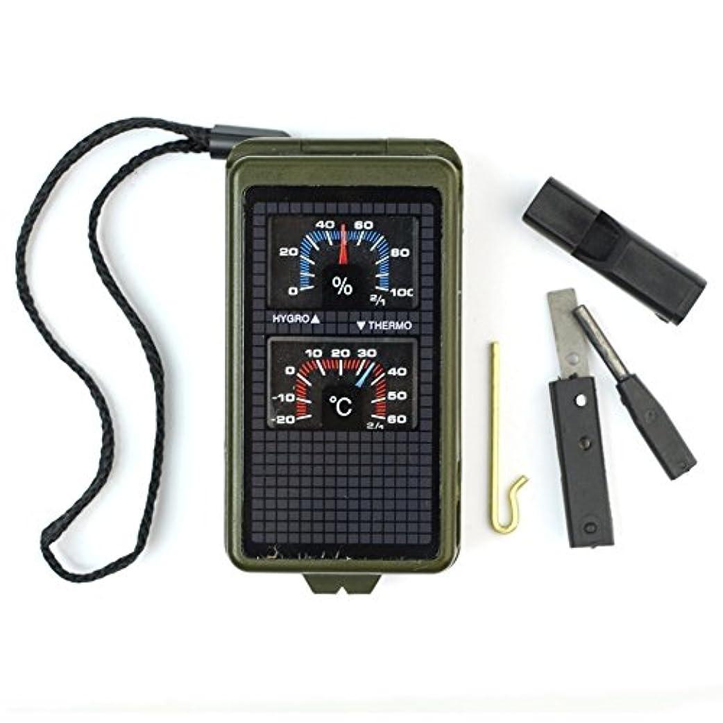 良性接続マニフェストyoufui 10 in 1 Militaryスタイルキャンプコンパス、温度計、湿度計、ミラー、レベル、拡大鏡、定規、LEDライト、ホイッスルand Fire Starter