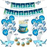サメ 誕生日 飾り付け BABY SHARK ちびザメ サメのかぞく チビザメ SHARK FAMILY  野獣 海 可愛い ブルー キャラクター 動物 魚 子供 男の子 女の子 happy birthday ガーランド ケーキトッパー バルーン 風船 紙吹雪 リボン 49枚セット (1)