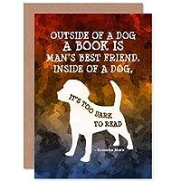 OUTSIDE BOOK DOG TOO DARK READ GROUCHO MARX JOKE BLANK BIRTHDAY CARD 本犬ダーク広告