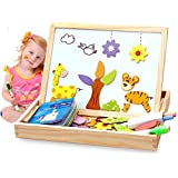 (Animals Puzzle) - Fantastic Learning & Education Magnetic Puzzle Wooden Multifunction Writing Drawing Toddler Toys Board for Kids Imagination Double Sided Chalkboard Easel Animals Puzzle Game Art (Animals Puzzle)