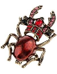 Fenteer シック エナメル ラインストーン カブトムシ型 昆虫のブローチピン コスチューム ジュエリー 全3色 - レッド
