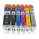 BCI-371XL(BK/C/M/Y/GY)+BCI-370XLBK-6色セット 【全色大容量】 [Canon]新互換インクカートリッジLED・残量表示付き (最新型ICチップ付き)  【A.I.S製品】