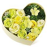 バラ型ソープフラワー ハートフラワー形状ギフトボックス 誕生日 母の日 記念日 先生の日 バレンタインデー 昇進 転居など最適としてのプレゼント EVERJOYS 001