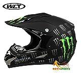 バイクヘルメット オフロード 軽量ヘルメット モンスターエナジー ゴーグル付き[モンスター2#・黒(艶消し)/XL]