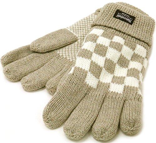 thinsulate(シンサレート) 手袋 ニット ブロックチェック 高機能中綿素材 メンズ ベージュ Free