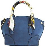 ほかでは手に入らないオリジナルデザインの特別限定品 大人可愛いお出かけハンドバッグ 2Way インディゴ リボンタイ(スカーフ柄)付き