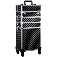 Embellir Beauty Suit Case On Wheel 7 in 1 Portable Cosmetic Trolley Black & Gold